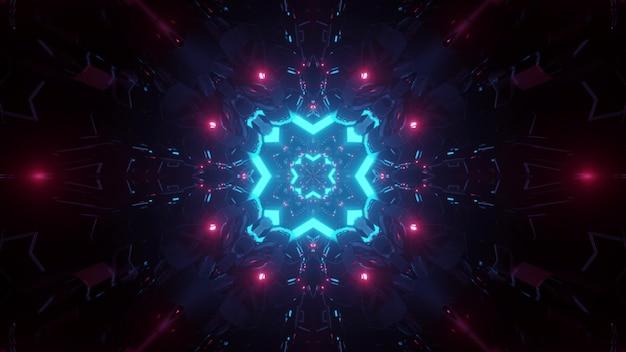 青とピンクのネオンの照明で輝くレンガと暗いsfトンネルの抽象的な背景