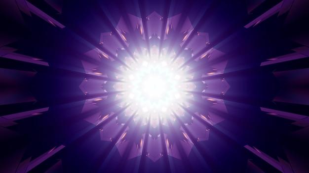 파란색과 보라색 네온 불빛에 의해 조명 별 모양의 기하학적 복도의 추상적 인 배경