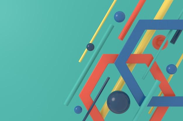 幾何学的形状の抽象的な背景。 3d背景デザイン。 3dレンダリング。