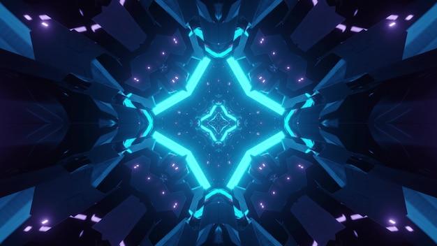 青い光に照らされた幾何学的な形で輝くsfトンネルの抽象的な背景