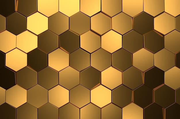 황금 육각형의 추상적 인 배경입니다. 3d 렌더링.