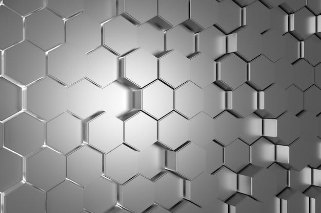 황금 육각형의 추상적인 배경입니다. 3d 렌더링.
