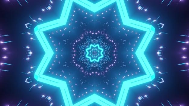 파란색과 보라색 네온 불빛과 함께 만화경 끝없는 터널의 추상적 인 배경