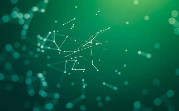 Абстрактный фон из линий, соединяющих точки на зеленом фоне