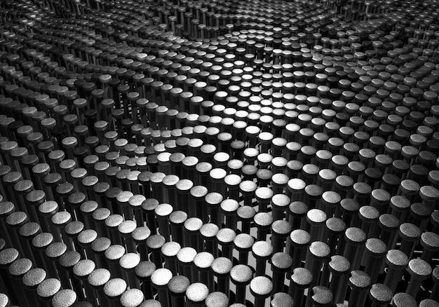 Абстрактный фон из многих серебряных и черных хромированных металлических движений ногтей вверх и вниз как поверхность волнистого узора