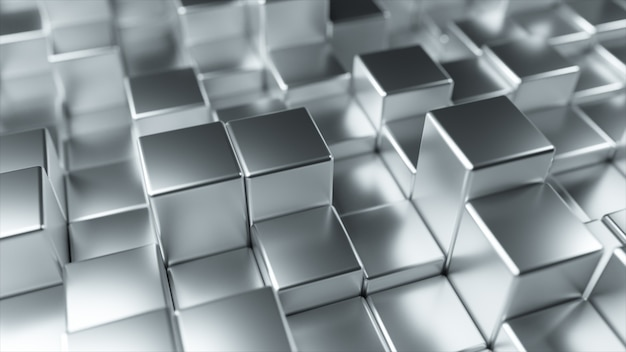 Абстрактный фон из металла случайно движущихся кубов