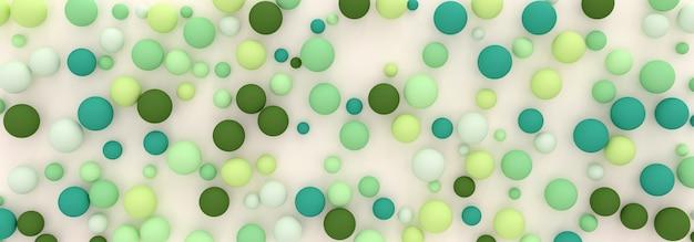 緑の色合いのランダムに散らばった球の抽象的な背景、3dイラスト