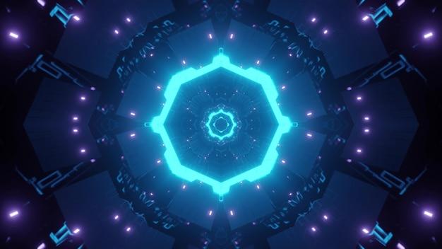 明るいネオンの光で輝く丸い形のsf回廊の抽象的な背景