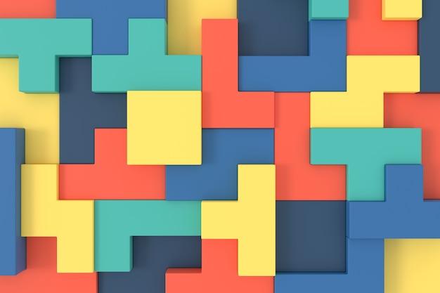 ソーマキューブの抽象的な背景。パズルパターン。 3dレンダリング。