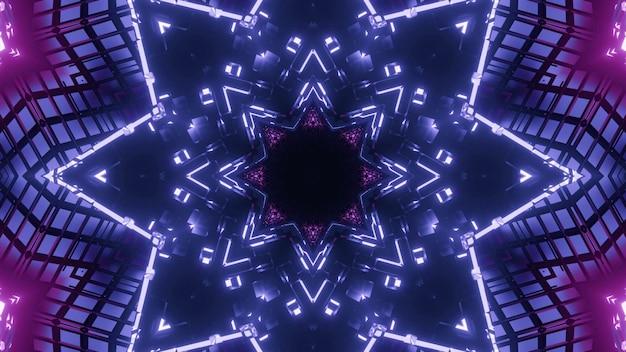 빛나는 보라색과 파란색 네온 불빛과 함께 별 모양의 끝없는 터널의 추상적 인 배경
