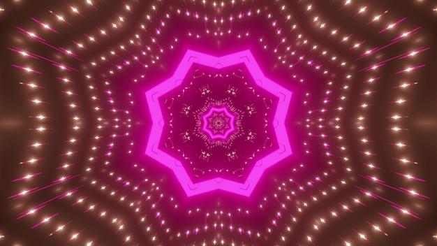 Абстрактный фон светящегося туннеля в форме звезды с розовой неоновой подсветкой