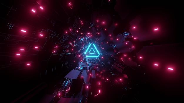 青とピンクのネオンの照明で輝く三角形の形をした3次元の未来的なトンネルの抽象的な背景