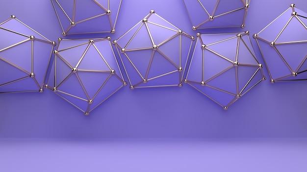 황금 가장자리와 삼각형 모양의 추상 배경
