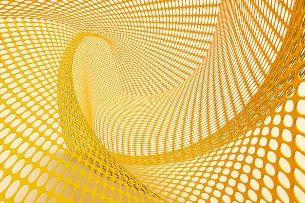 회색 배경 선택적 초점에 노란색 금속 메쉬의 추상 배경, 2021년의 색상, 3d 그림 렌더링