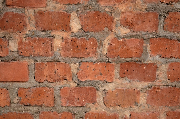 Abstract background of an old red brick wall.