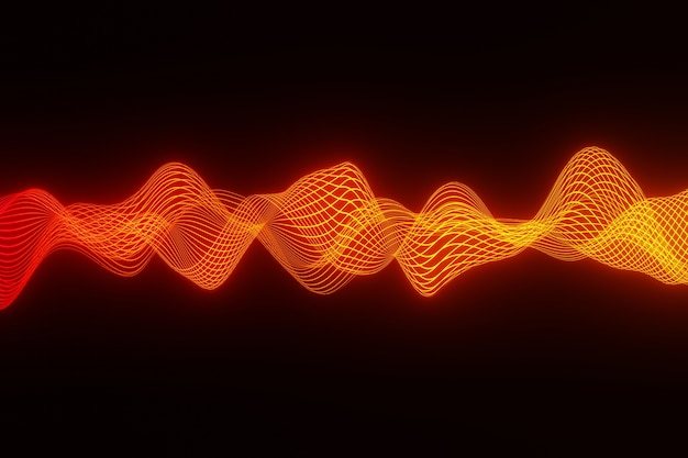 Abstract background orange audio wave heart beat 3d rendering