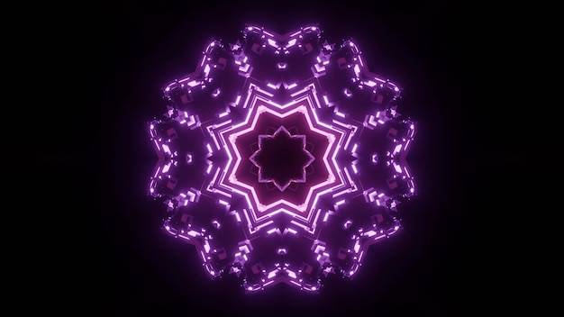 Abstract background of ornamental tunnel glowing with purple neon light