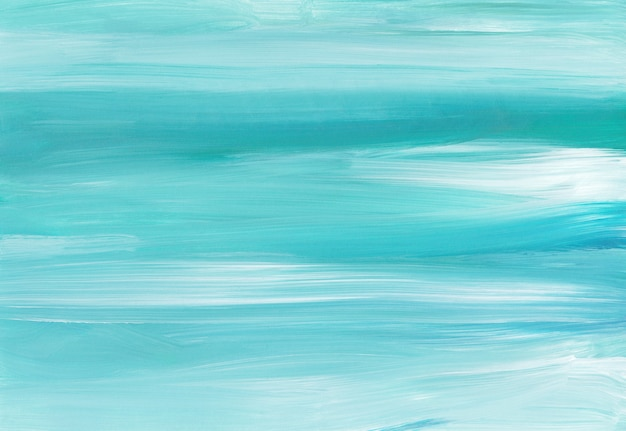 Абстрактная фоновая живопись, синие, бирюзовые и белые мазки на бумаге