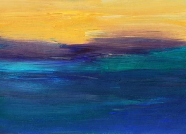 Абстрактная живопись фона, синий, желтый, фиолетовый, бирюзовый