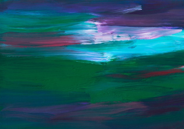 Abstract background painting, deep green, purple, blue, white, red brush strokes on paper texture