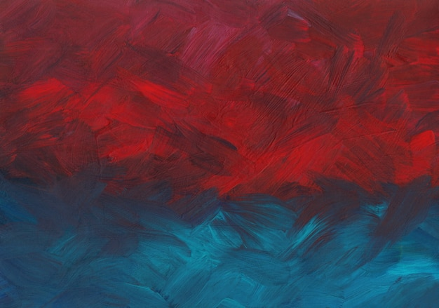 Abstract background painting, deep red, blue and purple brush strokes on paper