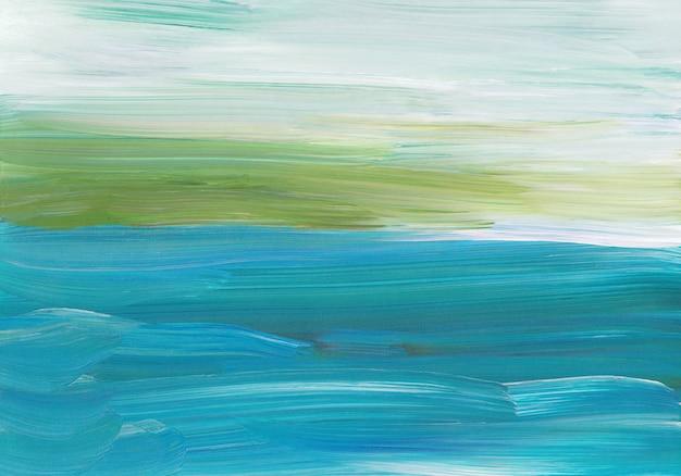 Абстрактная фоновая живопись, зеленые, синие, белые мазки на бумаге