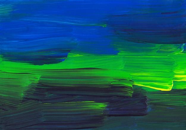 Абстрактная живопись фона, зеленые, синие, желтые, черные мазки на текстуре бумаги