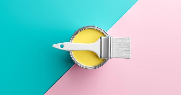 추상적인 배경 파스텔 색상 페인트는 최소한의 여름 예술 작품 스타일로 화려한 분홍색 파란색 종이에 예술 디자인과 노란색 수채화 창의적 브러시 장식 벽지를 할 수 있습니다. 3d 렌더링.