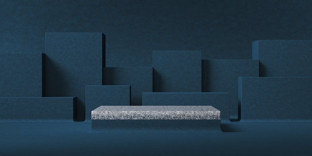 Abstract background for product presentation, gray marble platform in front of dark blue box layer background. 3d rendering