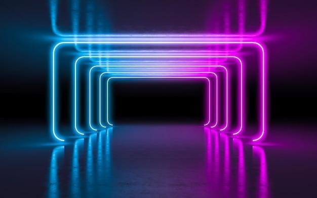 Света абстрактной предпосылки фиолетовые и голубые неоновые накаляя в пустой темной комнате с отражением.