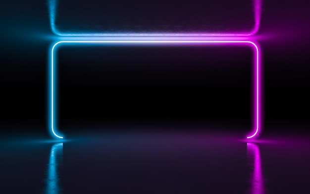 Abstract background purple and blue neon glowing lights in empty dark room with reflection.