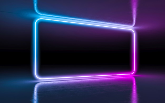Abstract background purple and blue neon glowing lights in empty dark room with reflection