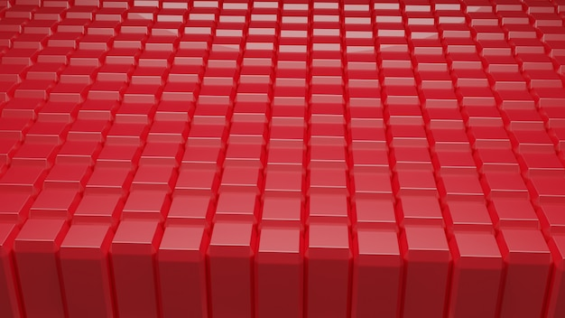 Abstract background red cubes block 3d redering