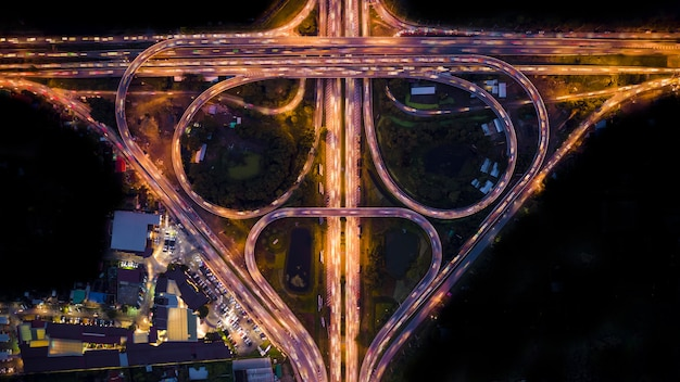 Abstract background ring road at night aerial view