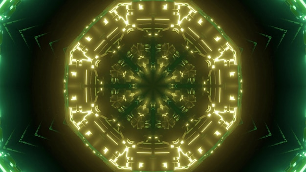 Abstract background of round shaped corridor illuminated by green neon light