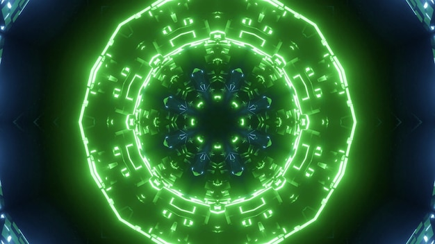 Abstract background of round shaped tunnel with blue and green neon lights