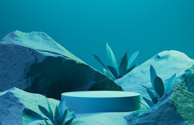 Абстрактный фон сцена для презентации косметических продуктов и пакетов, каменный подиум, 3d-рендеринг.