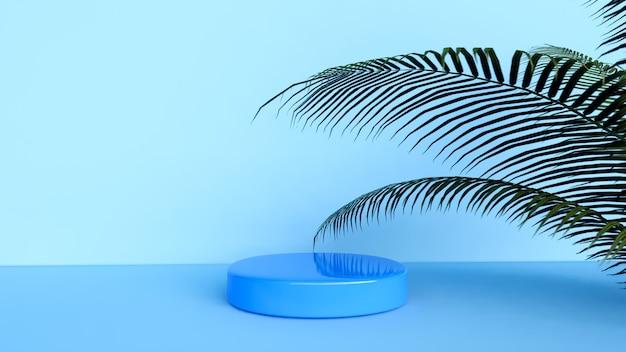 추상적 인 배경, 제품 디스플레이 장면, 파란색 배경 및 식물 배치 용