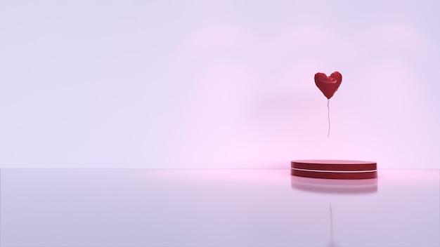 抽象的な背景、製品表示のシーン。愛の風船、バレンタインデー
