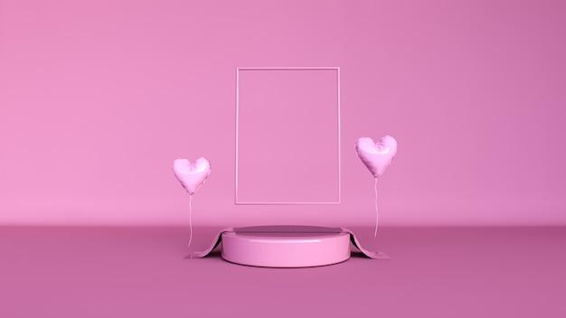 抽象的な背景、製品表示のシーン。バレンタインデー
