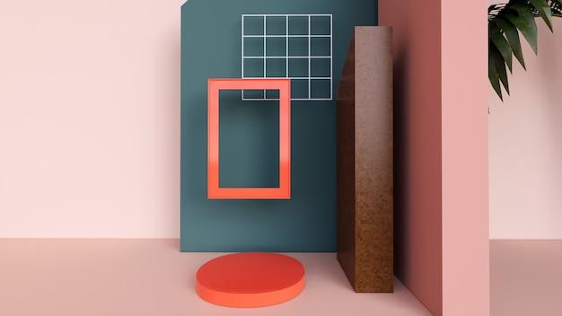 抽象的な背景、レトロな色で製品を表示するシーン