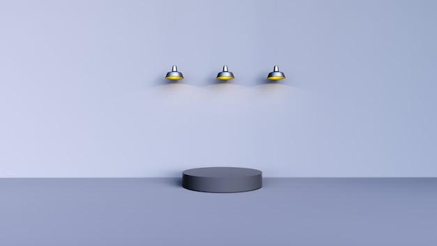 抽象的な背景、3つの黄色のライトと製品表示のシーン