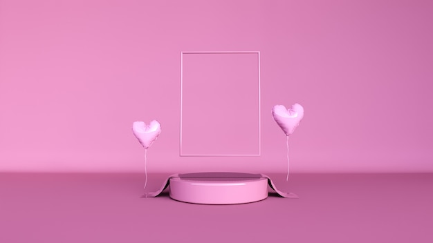 Abstract background, scene for product display. valentine day