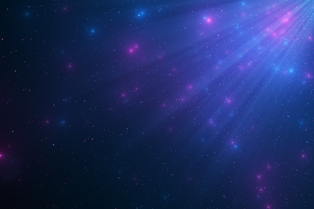 Abstract background of sparkling floating blue dust particles