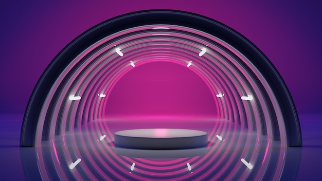 Abstract background stage and space colorful lighting, 3d rendering