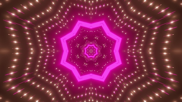 Abstract background of star shaped glowing tunnel with pink neon illumination