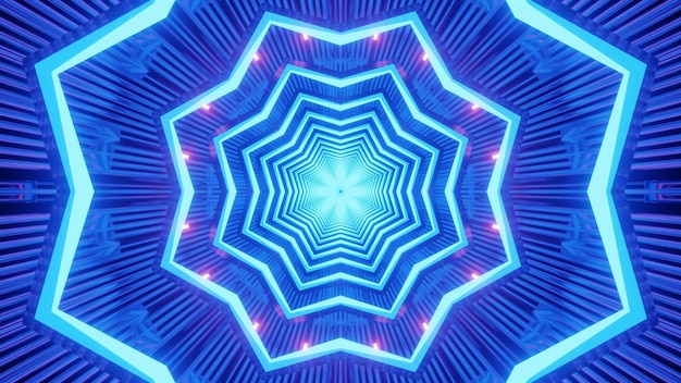 Abstract background of star shaped tunnel illuminated by vivid blur neon lights