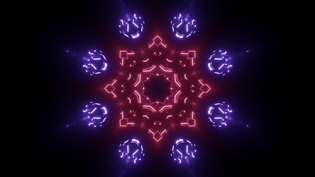 Abstract background of symmetric star shaped neon tunnel wit red and blue lights