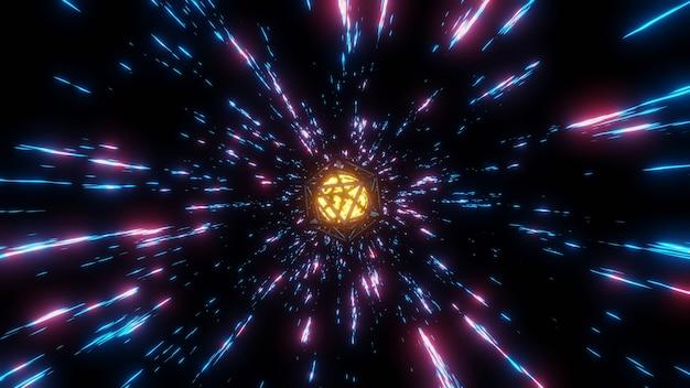 Абстрактный фон - путешествие инопланетных объектов в сверхдуговой области со скоростью света в туннелях времени обеспечивает превосходную визуализацию 3d-рендеринга.