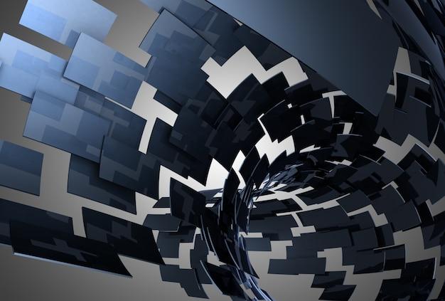 추상적 인 배경 터널 블록입니다. 3d 그림